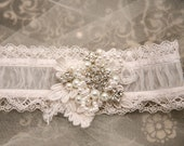 Shear Wedding Garter with Lace Pearls and Rhinestones, Bridal Garter Beaded Wedding Garter Set