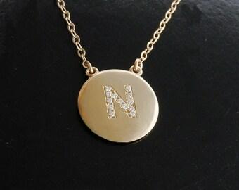 Celebrity Initial Diamond Pendant Necklace - Katie Holmes