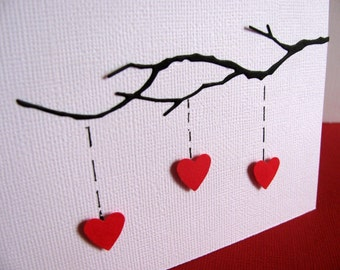 Heart Strings on Delicate Branch. 3D Card on Textured White Linen. You CHOOSE Colour of Hearts. Made to Order