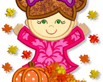 FALL LEAVES Girl  Applique 4x4 5x7 6x10 7x11 Machine Embroidery Design  INSTANT Download