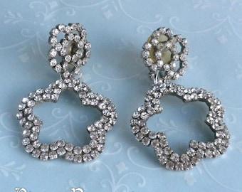 Vintage Prong Set Rhinestone Open Flower Pierced Dangle Earrings
