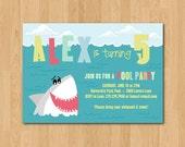 Printable Shark themed birthday party invitation