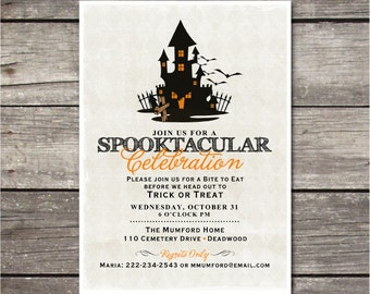 PRINTABLE Haunted House Halloween party invitation