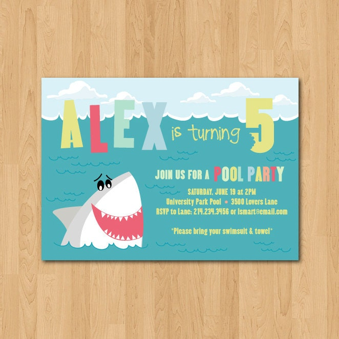Printable Shark themed birthday party invitation – Shark Invitations Birthday Party