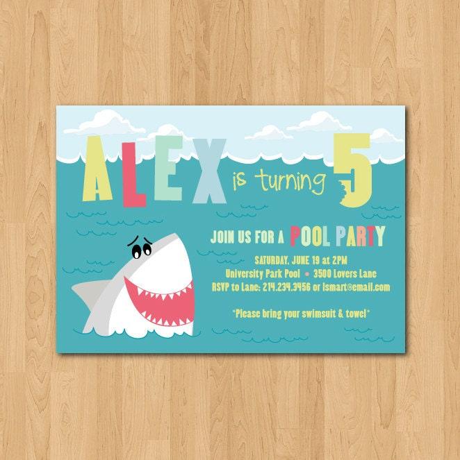 printable shark themed birthday party invitation, Party invitations