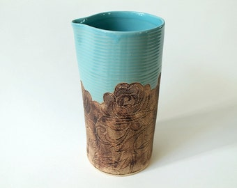 Handmade Large Floral Lace Pitcher in Turquoise