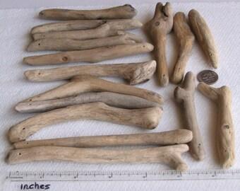 16 Natural Driftwood Sea Wood Sticks Top Drilled 1.2mm holes Craft Supplies (1424)