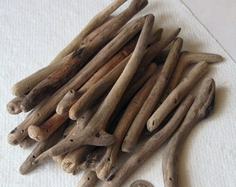 25 Natural Driftwood Large Long Beads Sticks Top Drilled 1.8mm holes Supplies (1429)