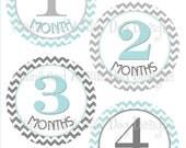 Monthly Milestone Stickers- Girls or Boys Gender Neutral Monthly Baby Sticker- Add a Gerber ONESIE bodysuit- Aqua & gray chevrons- BOY176
