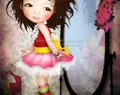 "Fine Art Print Cute LIttle Girl Playing Dress Up ""Mielle"" 8.5x11 or 8x10 Premium Giclee Print of Original Artwork - Dress up Diva Playtime"