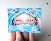 "ACEO ATC Artists Trading Card Blue and White Ocean Waves Girl ""Swell"" Premium Fine Art Mini Print 2.5x3.5 Girl Child"