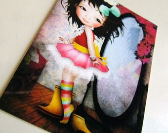 """ACEO ATC """"Mielle"""" Artists Trading Card - Cute Little Brown Haired Girl Playing Dress Up - Mini Giclee Print 2.5x3.5"""