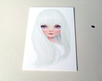 "ACEO ATC Artists Trading Card Mini Fine Art Print - 2.5x3.5"" - 'Amalthea' - Last Unicorn Inspired Artwork - Big Eye Art - White Lavender"