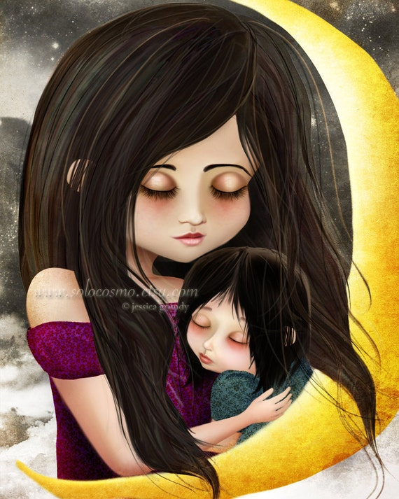 """Fine Art Print """"Goodnight Baby"""" 8.5x11 or 8x10 - Mother and Daughter Embracing Fantasy Fairy Tale Portrait - Moon Mom Baby"""