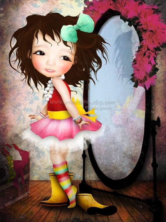 "Fine Art Print Cute LIttle Girl Playing Dress Up ""Mielle"" 8.5x11 or 8x10 Premium Giclee Print of Original Artwork - Dress up Diva Playtime"