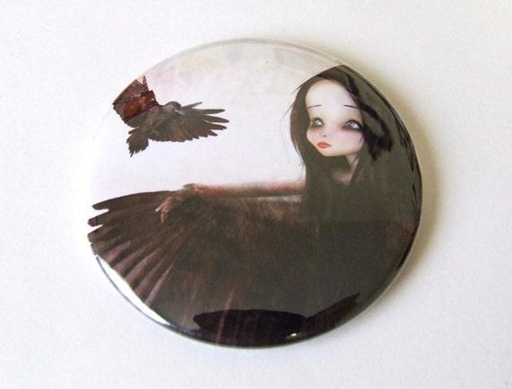 """Pocket Mirror """"The Crow"""" 2 1/4"""" Round Mirror Print of Original Artwork - Dark Haired Girl with Black Bird Raven"""