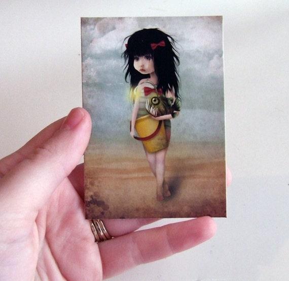"ACEO/ATC Mini Fine Art Print ""My Fishy Friend"" Artist Trading Card 2.5x3.5 - Lowbrow Art Little Girl and Angler Fish Soft Green Light Blue"