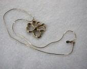 Vintage Signed Avon Openwork Gold on Silver Metal Dogwood Flower Pendant Necklace