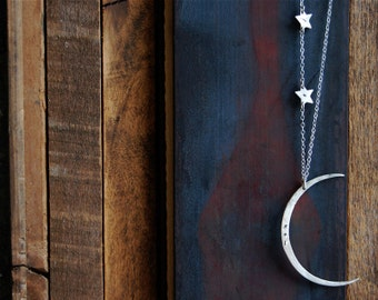 Seeing The Dark Side of the Moon Necklace with Two Stars and Custom Initials- Large Hammered Crescent Moon Shape