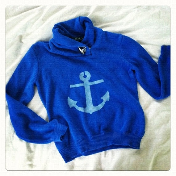Anchor Sweater hand stenciled nautical OOAK upcycled blue and white