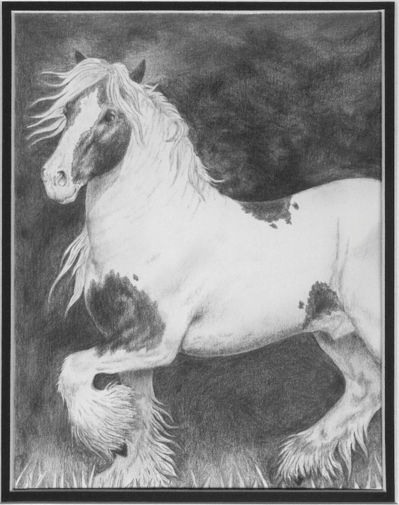 Framed Horse Drawing, Gypsy Horse, Wall Art, Nature, Equine original horse art