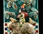 Reserved for Leslie, Ceramic Tile, Girl on Bear with Apple and Backpack