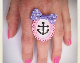Pin up style anchor bow ring, violet