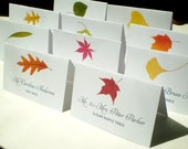 Assorted Fall Tree Name Place Cards Corresponding to a Fall Leaf Table Sign -16 Cards DIY You Edit - MS Word Template Instant Download