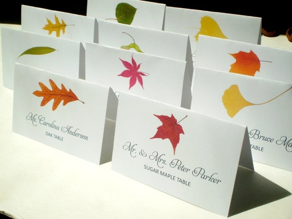 Assorted fall tree name place cards corresponding to a fall leaf table