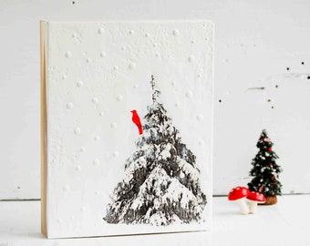 RED BIRD Winter TREE  Original Encaustic Painting Snowing Christmas Tree Forest Black & White