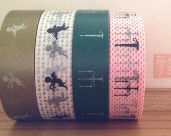 christmas masking tape -set of 4 - gold, black, white, silver, green and red.