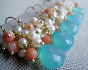 Bridesmaid aqua earrings, blue chalcedony, pearl coral earrings, bridesmaid jewelry, azure gemstone earrings, weddings, pastel