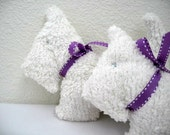 Dog rattle softie-White chenille with purple ribbon baby rattle Sammy the dog- Scottish dog