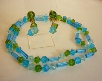 VTG 1960s MOD Lucite Bead Necklace / Earring Set   aqua & olive