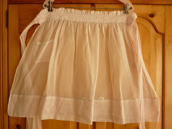 1950s Sheer Pink Hostess Apron w Hand Smocking