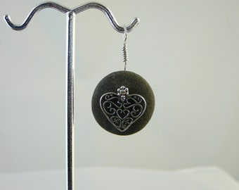 Romantic Sterling Silver Heart on a Beach Rock