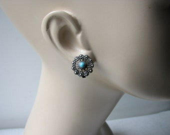 Vintage  935 Sterling Silver Clip on Earrings - Filigree and Turquoise