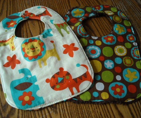 Set of 2 Great Baby Bibs, 1 with Thick Chenille Back, 1 with Cotton Batting in the Middle.