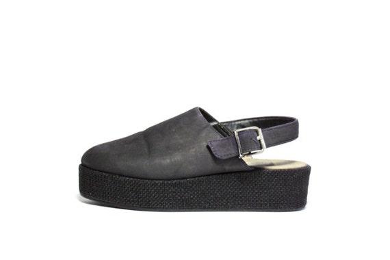 VTG 90's Inky Nubuck and Raffia Platform Sandals 7