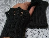 Black Crocheted Wristlets - Set of 2 ruffled wrist warmers - Goes with everthing!