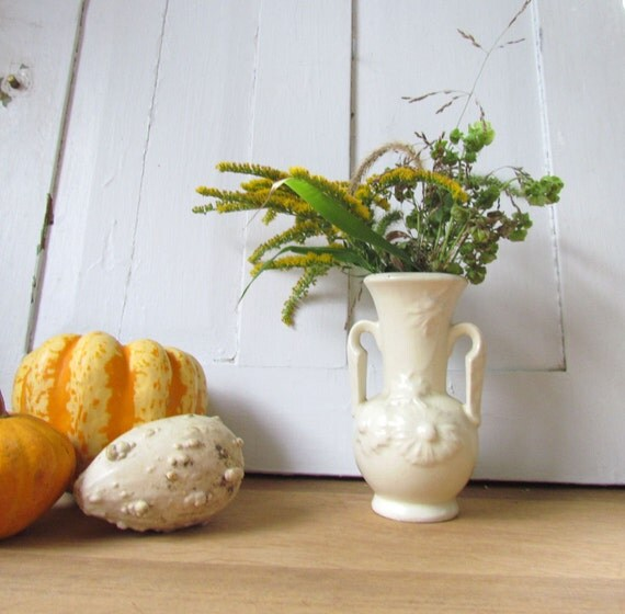 Vintage Winter White Floral Pottery Vase