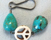 Turquoise OR Blue Sponge Coral n Groovy Peace Sign Backpack Charm, Turquoise Purse Charm, Hippie Peace Sign Zipper Pull