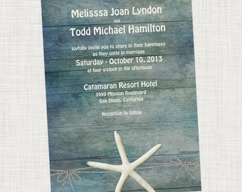 Starfish Wedding Invitation Destination Beach Wedding- Printable Digital