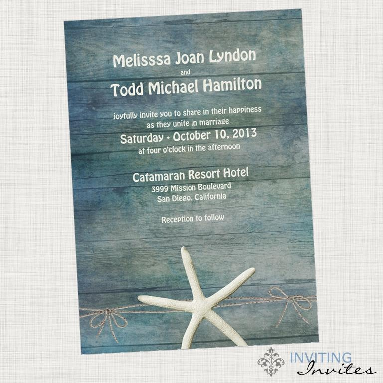 Starfish Wedding Invitation Destination Beach
