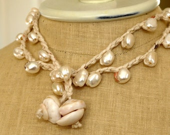 Large White Pearls Long Necklace