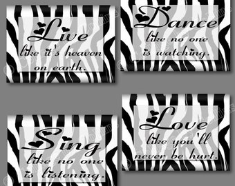 White Black Zebra Print Dance Live Love Sing Quote Art Girls Room Wall Decor Inspirational Hearts UNFRAMED Photos Pictures Bedroom Bathroom