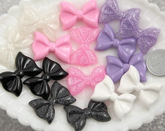 Bow Resin Cabochon - 28mm Mixed Girly Colors Ribbon Resin Cabochons - Pink, Black, White and Purple - 7 pc set