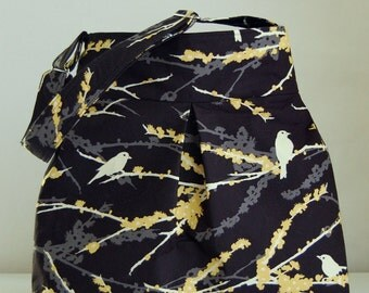 Sparrows in Black Fabric Pleated Hobo Handbag / Purse - READY TO SHIP