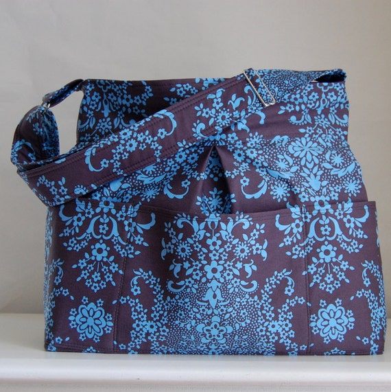 English Garden Fabric Pleated Diaper / Craft / Knitting Bag