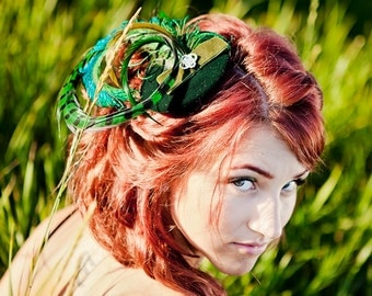 Green Velvet Feather Fascinator